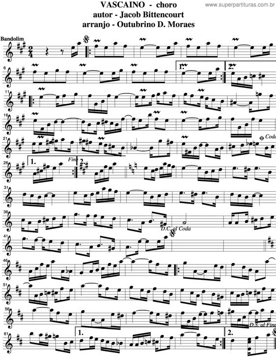 Partitura do choro Vascaino, de Jacob do Bandolim
